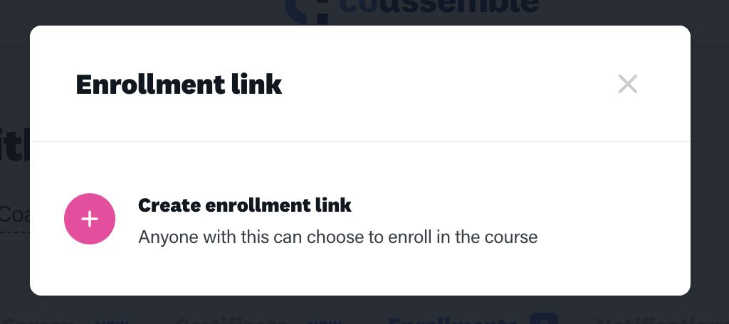Online training platform enrollment links