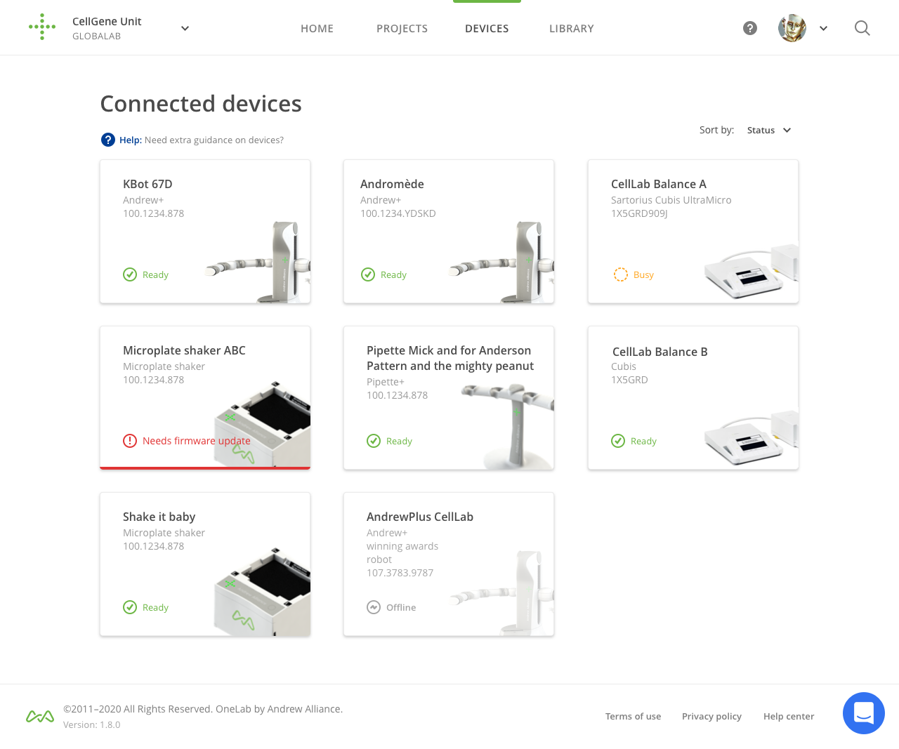 OneLab connected devices fleet management