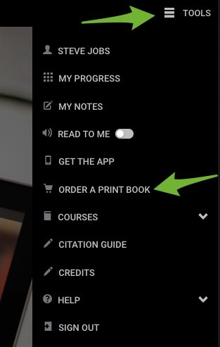 Arrows pointing to the expanded Tools menu and the Order a Print Book option.