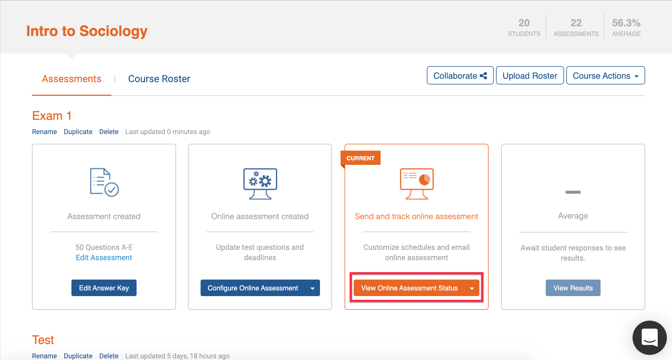 Image: View Online Assessment Status button on Akindi dashboard