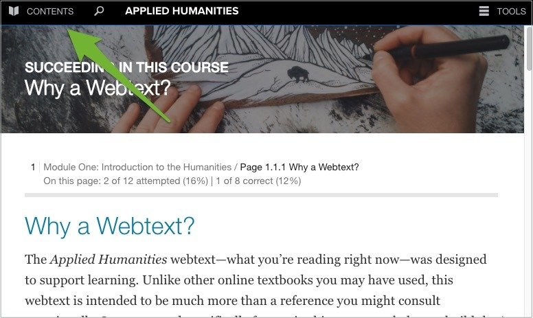Screenshot of a page in the webtext and there is a green arrow pointing to the Contents menu item.