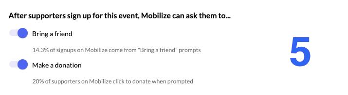Screenshot of post-signup action toggle