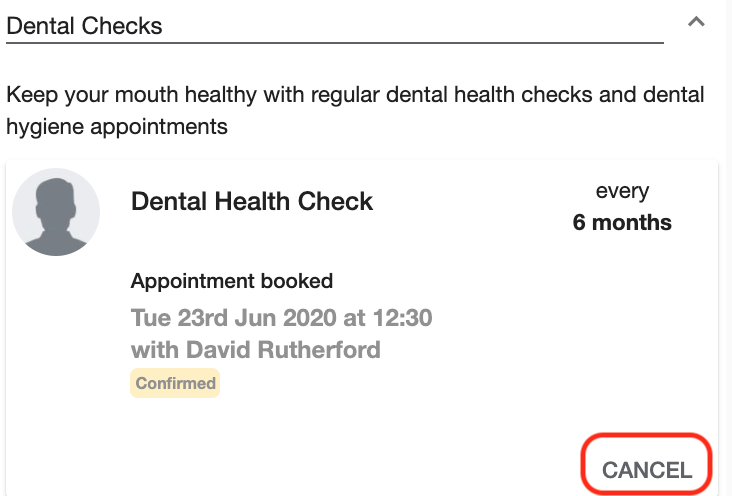 Dentally Online appointment cancel booking
