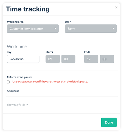Add a time tracking