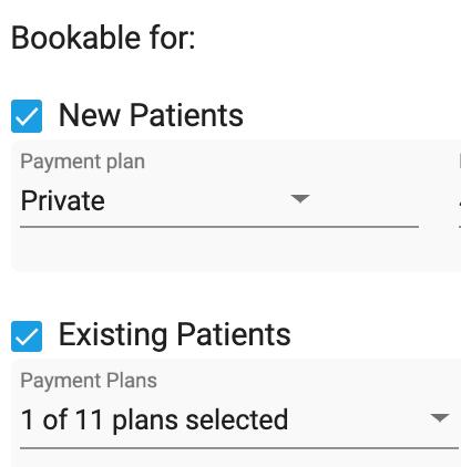 Dentally Patient Portal Bookable treatment plans