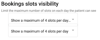 Dentally Patient Portal Settings Booking slot visibility