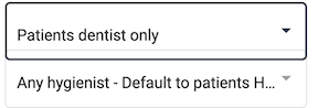 Dentally Patient Portal Settings Dental Practitioner selection