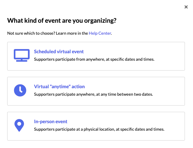 Screen shot of the events you can create on Mobilize: Scheduled virtual event, virtual