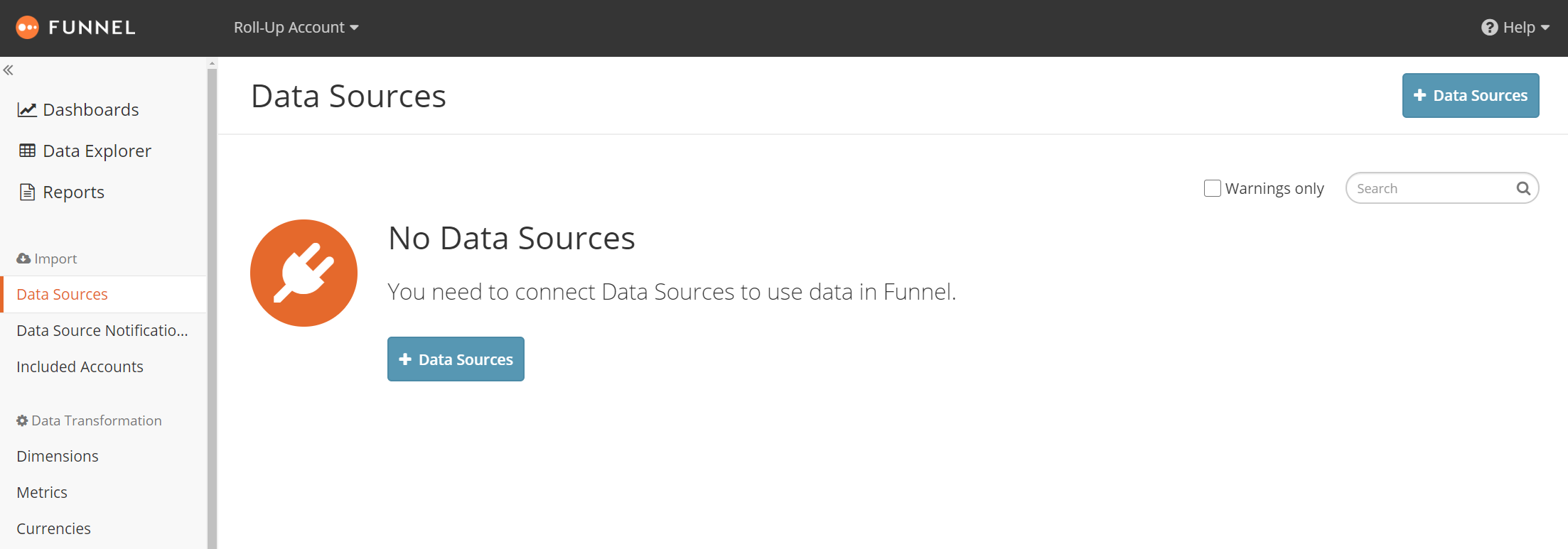 Data Sources view showing that roll-up account has no own sources