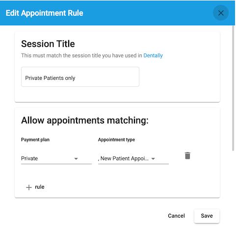 Dentally Patient Portal Add Calendar session