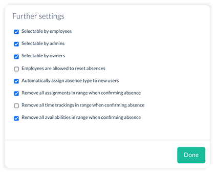 Further settings for new absence types