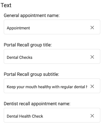 Dentally Patient Portal Settings Text options