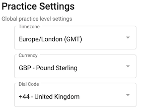Dentally Patient Portal Practice Settings options