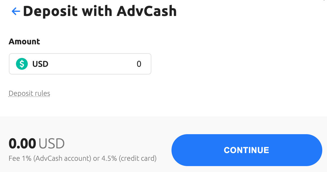 A screenshot showing how to deposit crypto with AdvCash