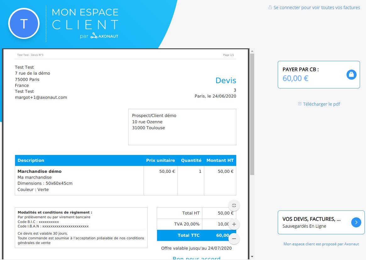 Espace client Axonaut Devis