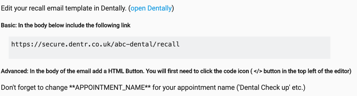 Dentally Patient Portal recall email template