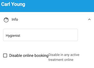 Dentally Patient Portal Manage Practitioner information