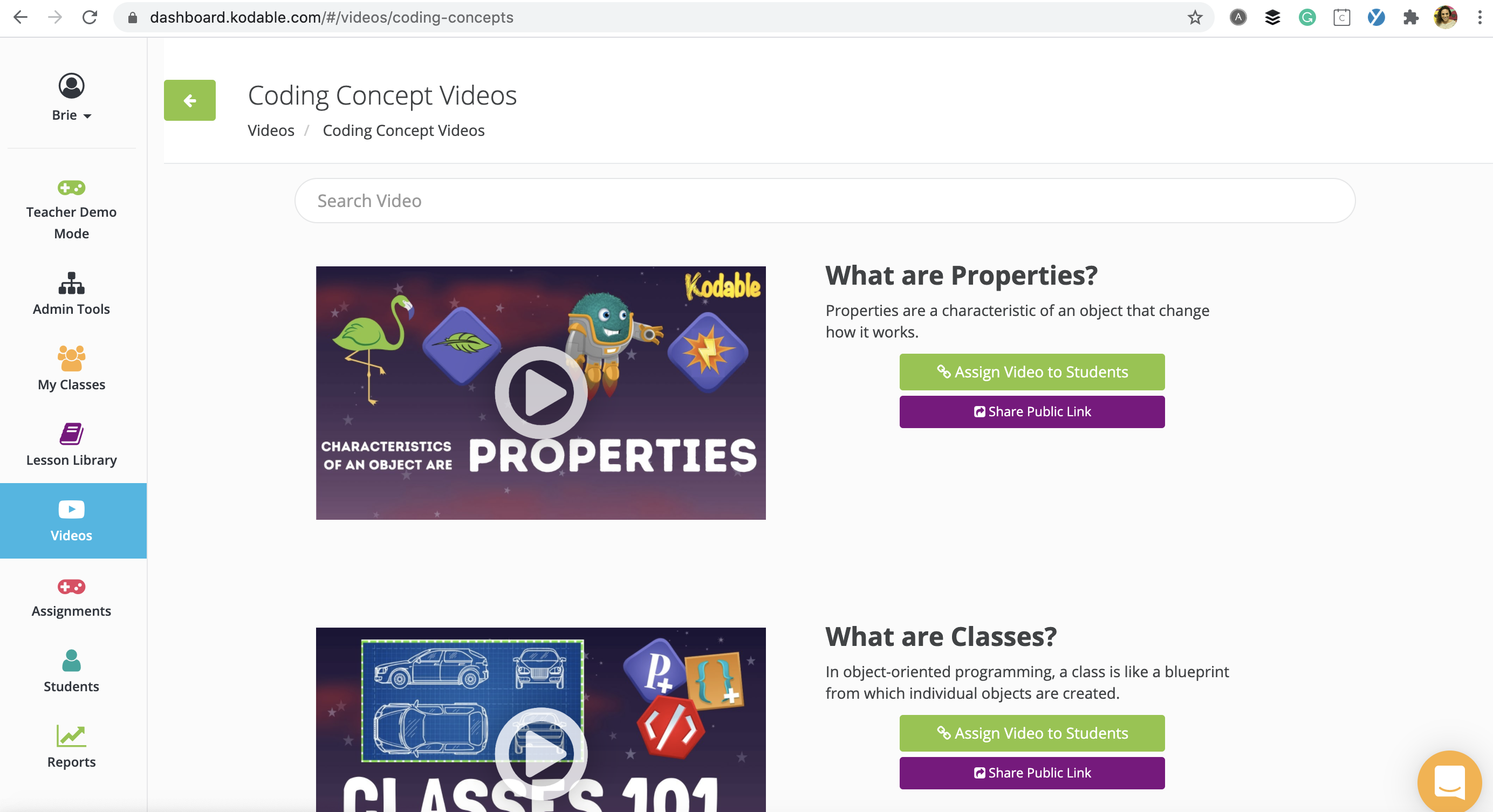You can assign and then view the videos from your teacher dashboard.