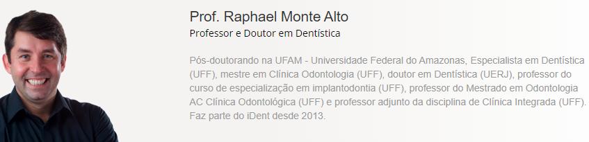 imagem com resumo do currículo do professor Raphael Monte Alto