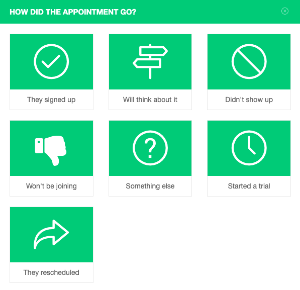 Call outcomes for an appointment