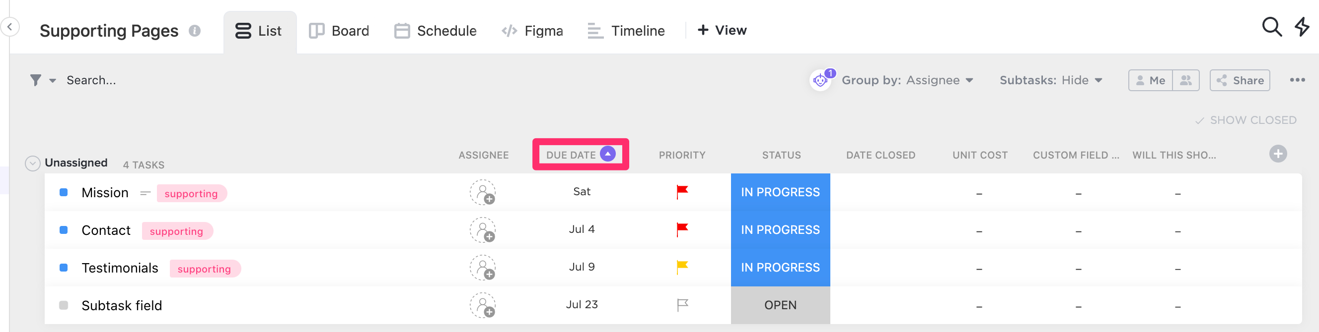 Sort a column by due date by clicking on the small arrow to the right of the due date column header