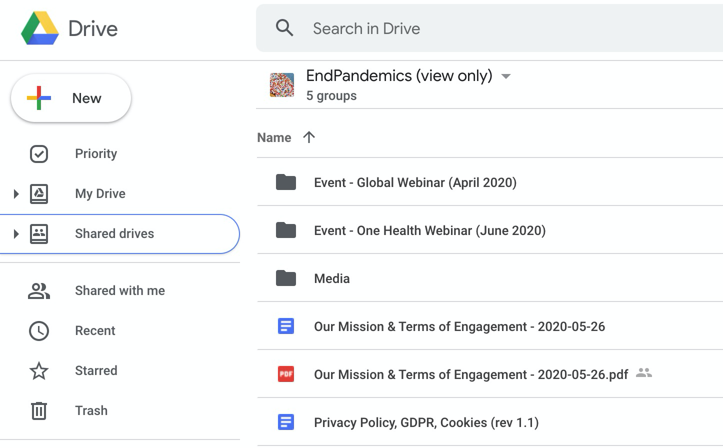 EndPandemics Shared Drive for published assets