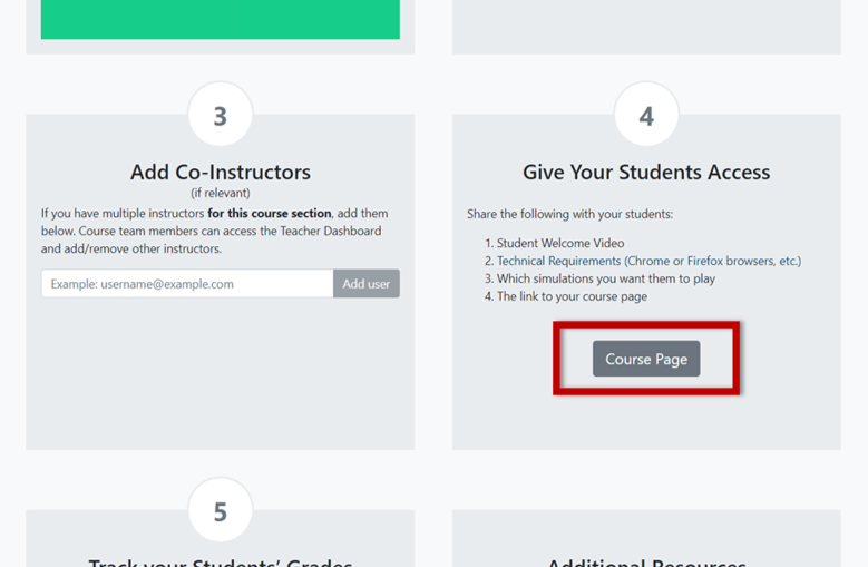 Find the student access link on the Course Management page.