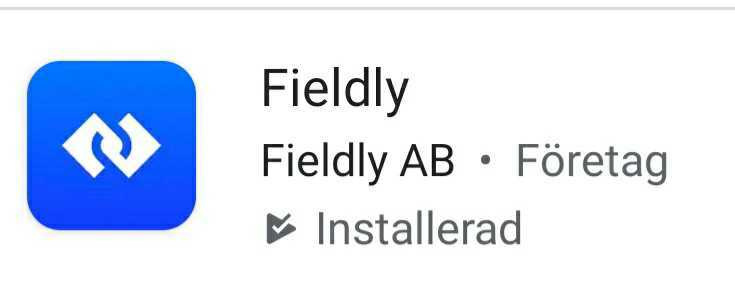 Fieldly appikon i AppStore och Google Play