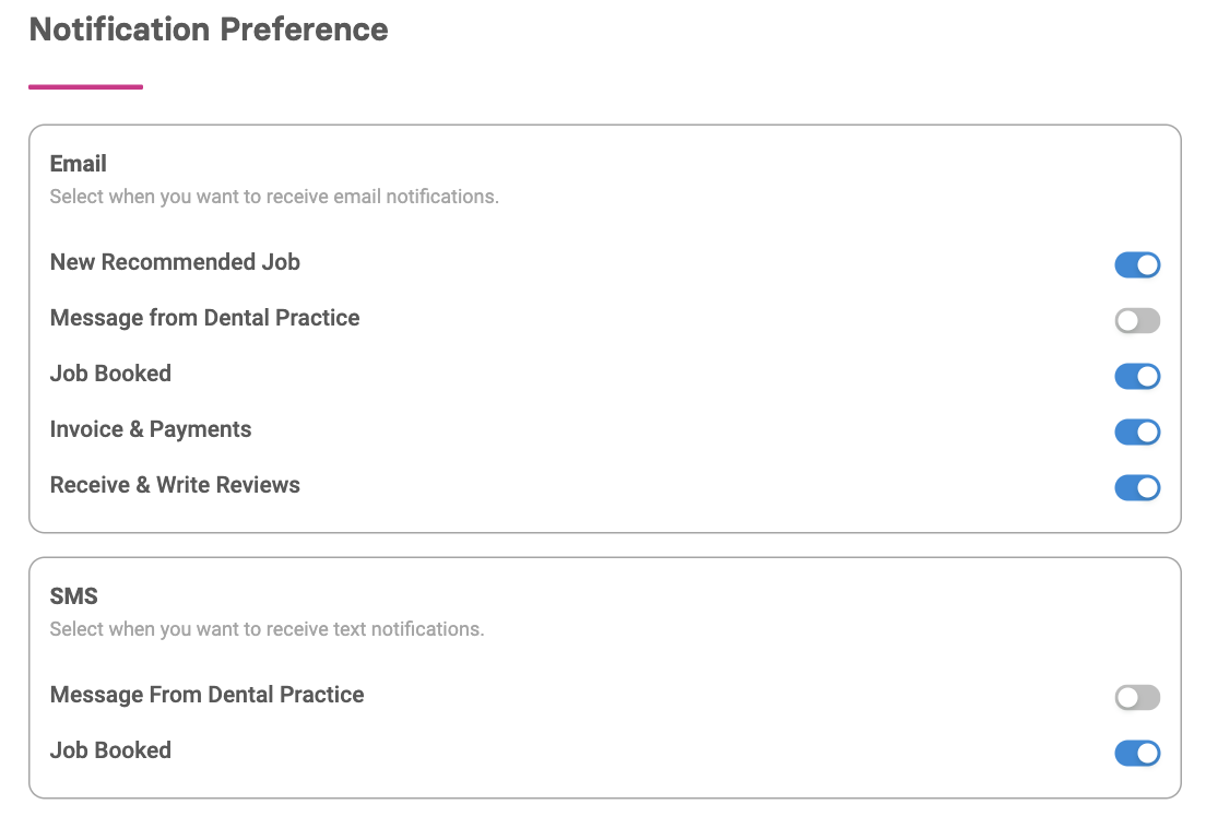 Mange notifications for your dental job applications and dental locum invoices