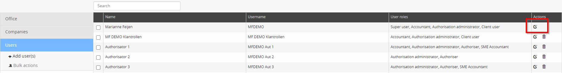 User settings in Basecone
