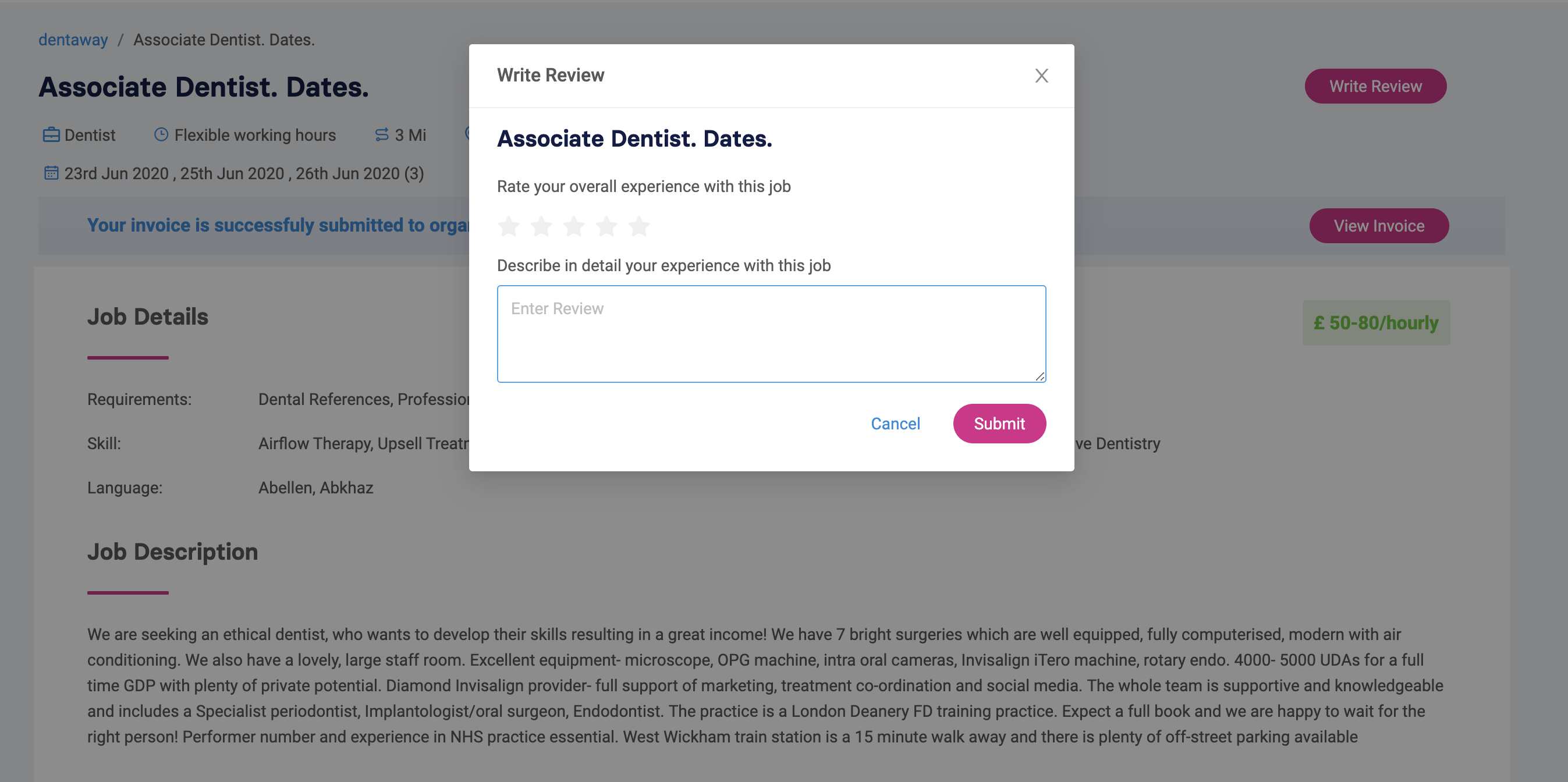 Write a review for your dental job
