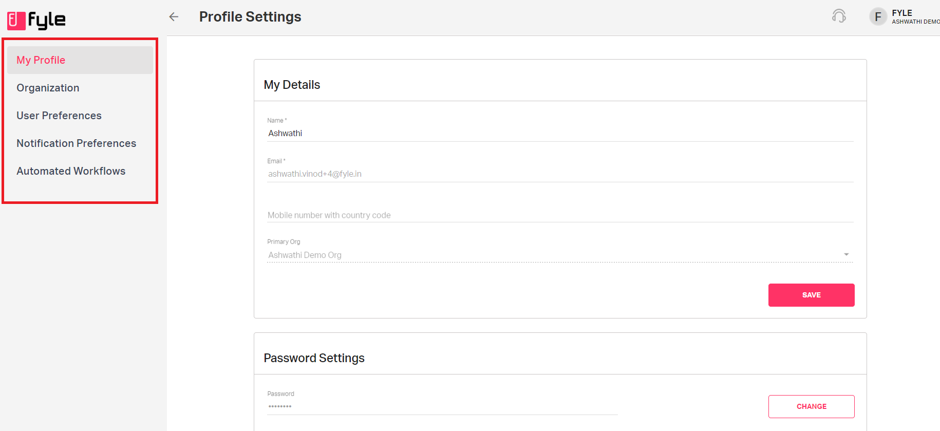 User's profile setting page in Fyle