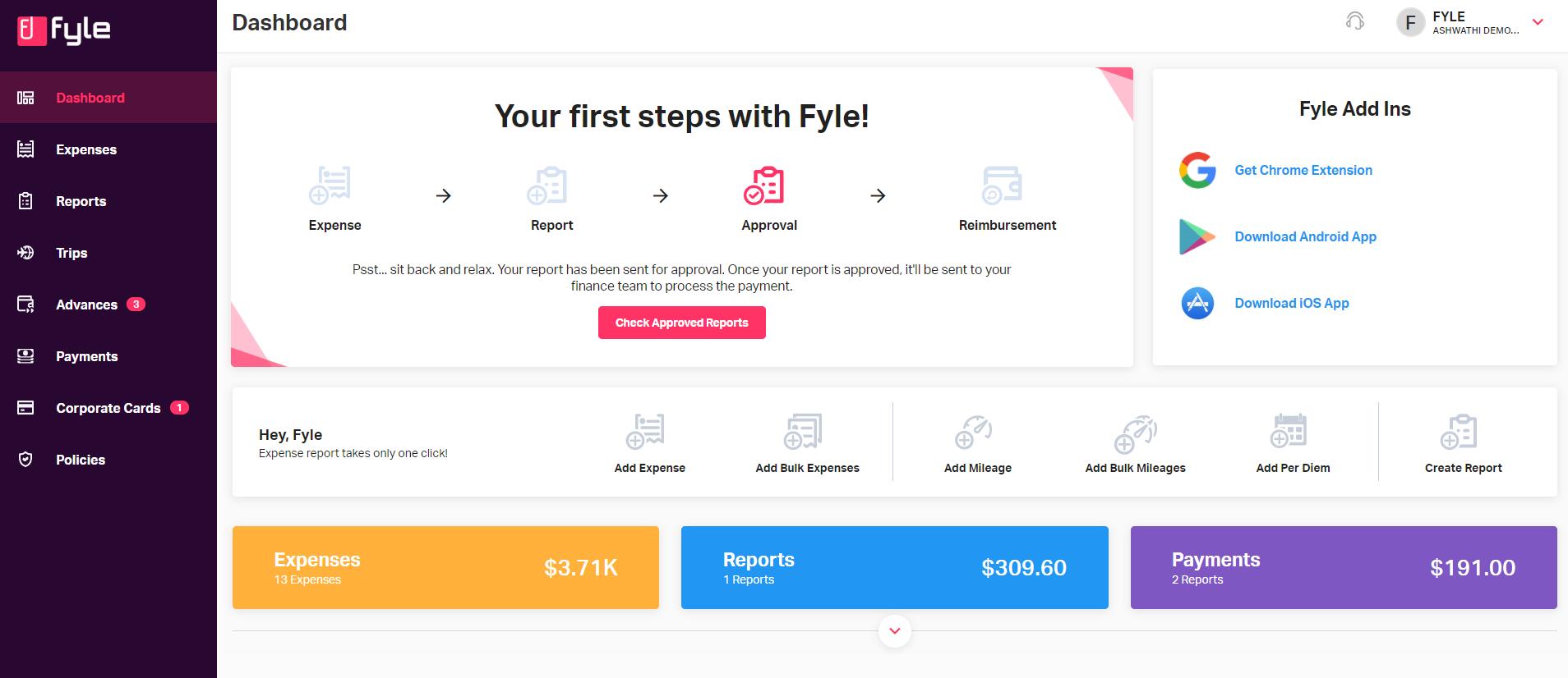 Users dashboard on Fyles web application