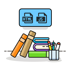 Graphic of HTML and JavaScript files with books and pencils