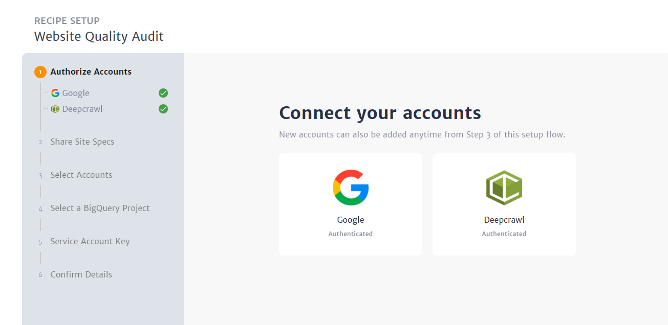Enter the credentials from the required accounts
