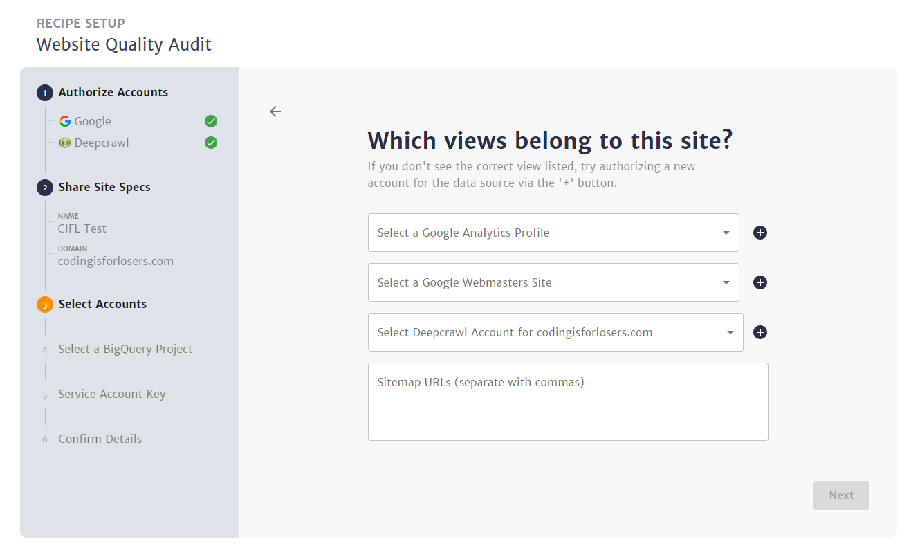 Select the proper site + view in each of the required accounts. Also add the sitemaps to crawl.