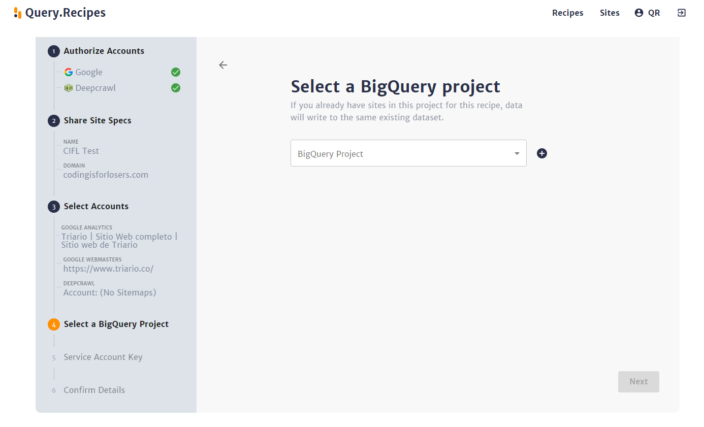 Select a Big Query Project