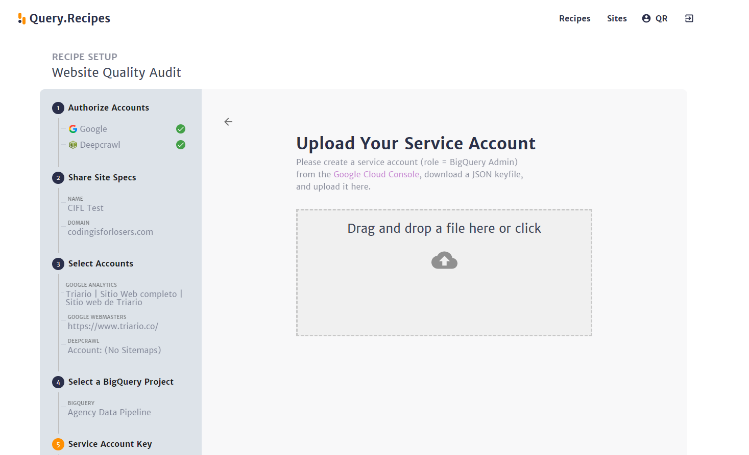 Add the service account json key you generated earlier