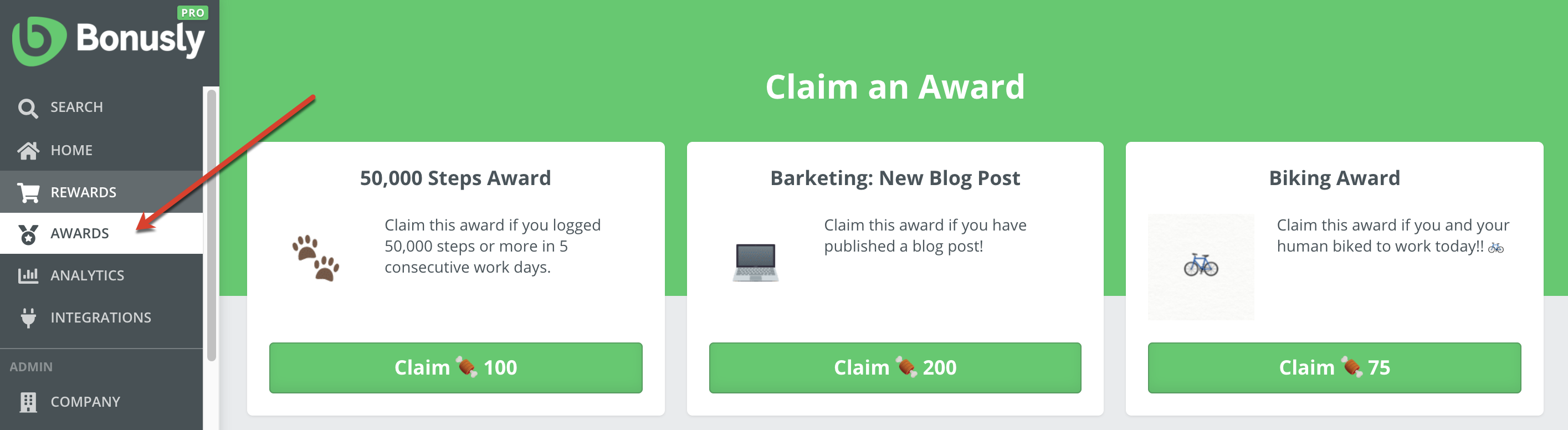 Main awards section showing the new claimable added.