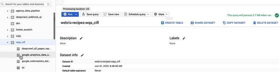 The recipe setup within Big Query