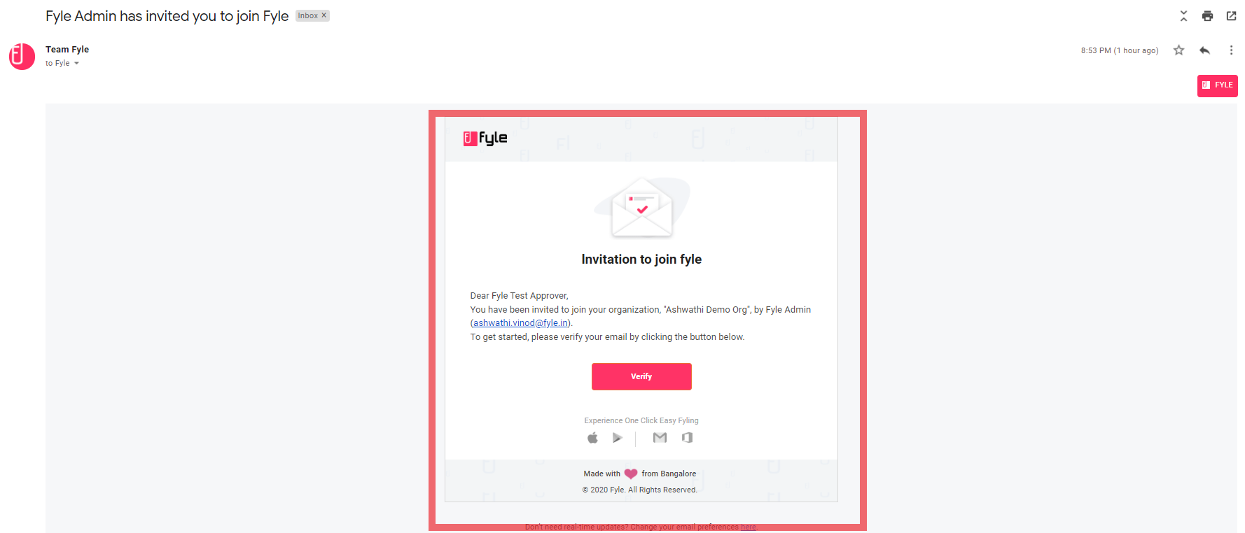 verification fyle page