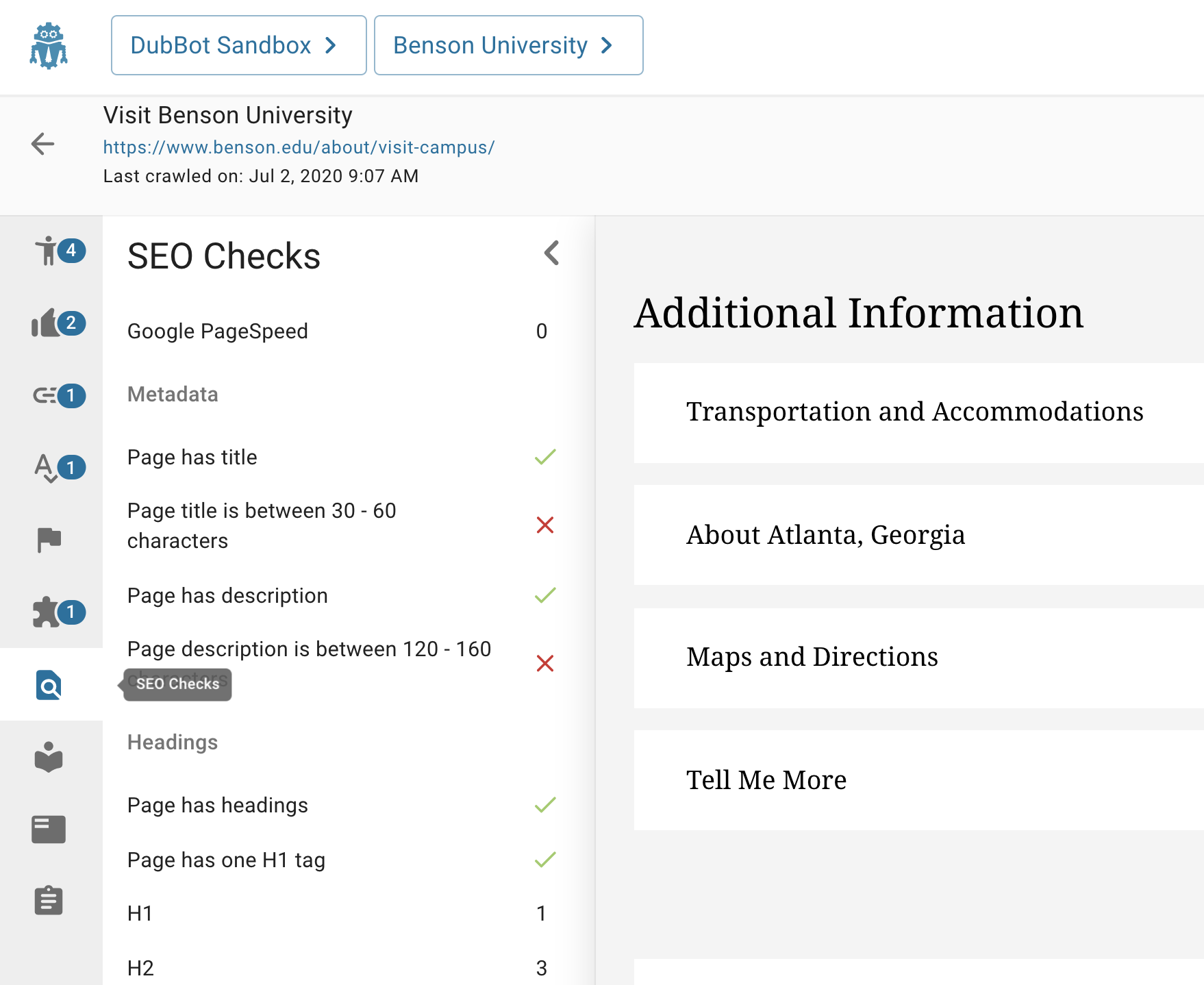 Page is in preview mode with the SEO icon highlighted and the list of SEO metrics failures (indicated by an X) and successes (indicated by a checkmark) listed vertically parallel to the list of icons.