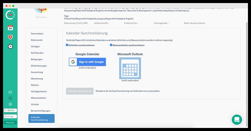 Google Kalender-Synchronisierung im Profil einstellen