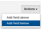 Actions menu on form editor.