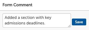 Entered Form Comment on form setup page.