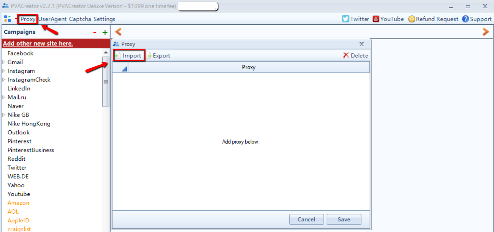 "Import PVA Creator image - ""to use PVA Creator"""