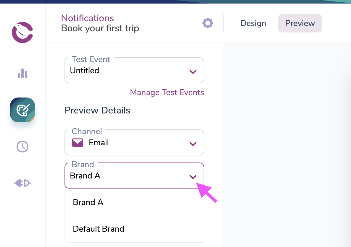 Selecting a Brand in the email preview tab