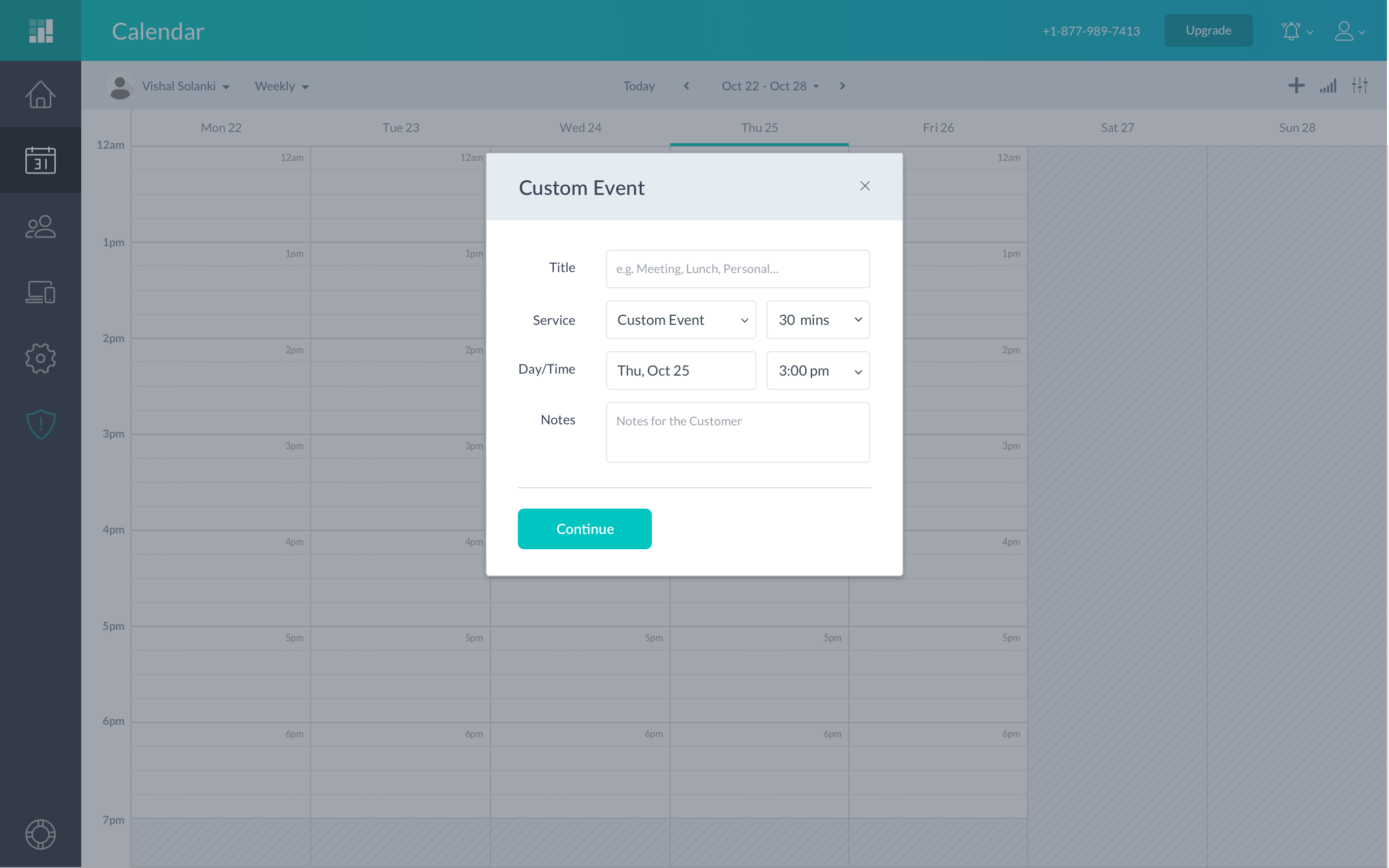 Creating a custom event in the Setmore web app