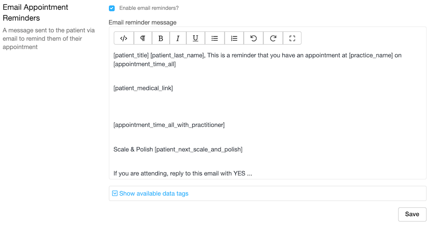Dentally - Set up automatic Email Reminders