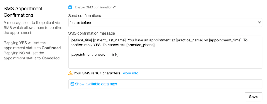 Dentally - Set up automatic SMS appointment confirmation